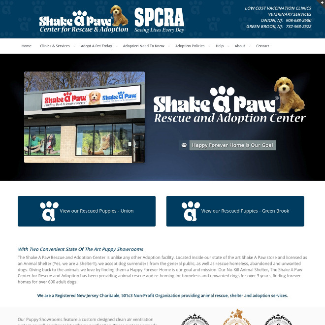 The Shake A Paw Rescue and Adoption Center is a Registered New Jersey Charitable, Non-Profit organization created to provide animal rescue, shelter and adoption services.
